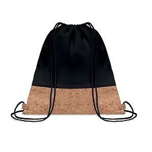 Keprový batoh se šňůrkami s korkovými detaily, černý