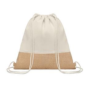Stahovací batoh z bavlny s prvky z juty