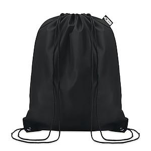 Stahovací batoh vyrobený z recyklovaných PET lahví, černý