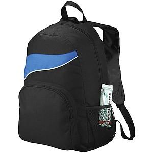 Černý batoh s barevným doplňkem, královská modrá