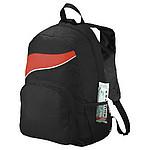 Černý batoh s barevným doplňkem, červená