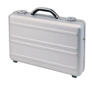 hliníkový kufr na notebook, stříbrný