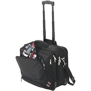 Nylonová taška na kolečkách určená pro laptop, černá