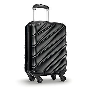 Cestovní kufr, tvrdá skořepina, lesklý PET povrch, černý
