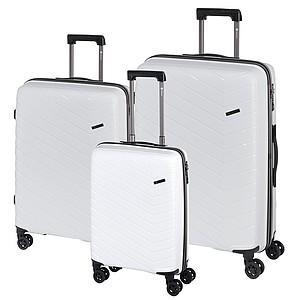 Třídílný set pevných plastových kufrů, bílá