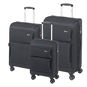 Třídílná sada kufrů s předními kapsami, černá