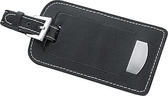 Kožený přívěšek na kufr, černá