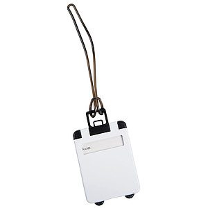 Jmenovka na zavazadlo ve tvaru kufru, bílá