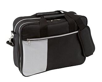Taška na rameno s přihrádkou na laptop, černo šedá