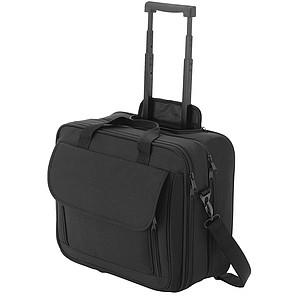 Taška na dokumenty a laptop, černá, na kolečkách