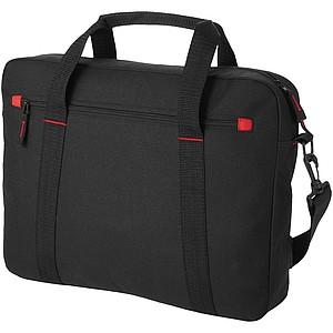 Jednoduchá taška na laptop, černá, červené doplňky