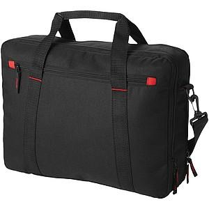 Dvojitá taška na laptop, černá, červené doplňky