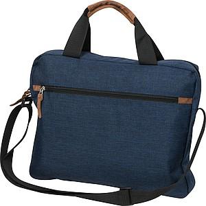 Tmavě modrá taška na notebook s hnědými doplňky