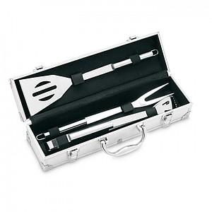 Hliníkový kufřík s náčiním na barbecue, stříbrná