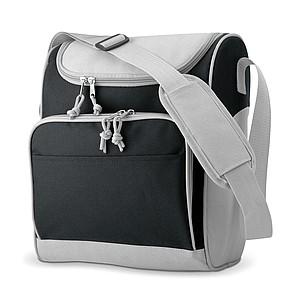 Chladící taška s přední kapsou, 600D polyester, černá