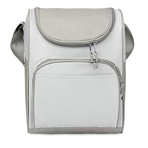 Chladící taška s přední kapsou, 600D polyester, bílá
