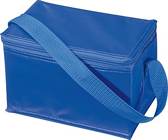 Chladící taška na 6 plechovek s popruhem, nylon, modrá