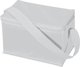 Chladící taška na 6 plechovek s popruhem, nylon, bílá