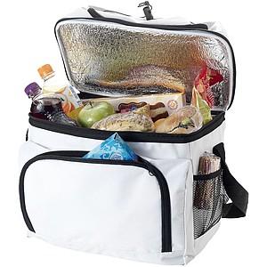 Chladící taška s přední kapsou na zip, bílá