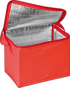 Chladící taška na 6 plechovek s popruhem, z nylonu, červená