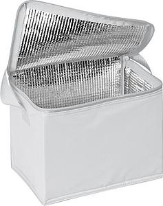 Chladící taška na 6 plechovek s popruhem, z nylonu, bílá