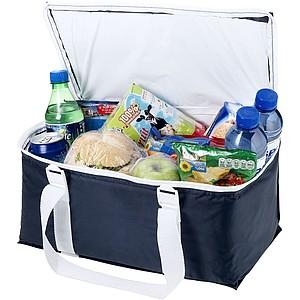 Chladící taška na 12 plechovek, tmavě modrá, bílá