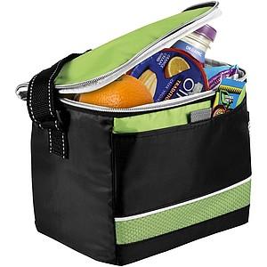 Černá chladící taška s barevnými doplňky, zelená