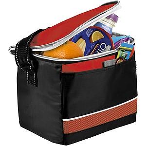 Černá chladící taška s barevnými doplňky, červená