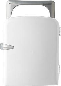 Plastový chladící box na 12 plechovek, tvar ledničky, bílý