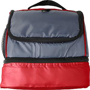 Chladící taška z polyesteru se dvěma oddíly, červená