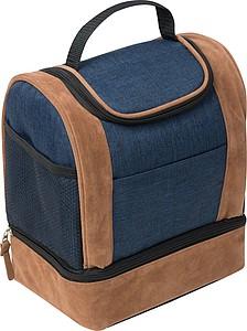 Modrá chladící taška s hnědými detaily