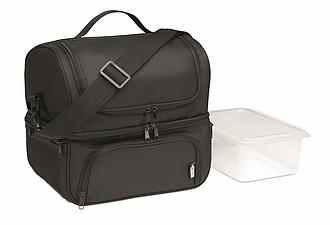 Chladící taška s dvěma přihrádkamiz RPET, černá