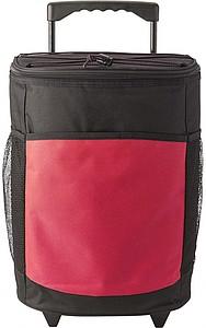 Velká chladící taška na kolečkách, červená