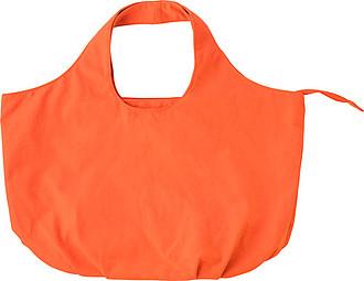 Bavlněná plážová taška na zip, s plochým dnem, oranžová