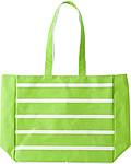 Polyesterová plážová taška s bílými pruhy, světle zelená
