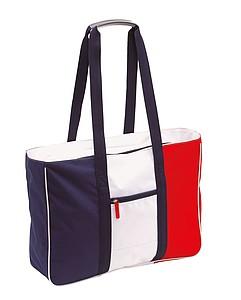 Plážová taška, modrá, bílá, červená