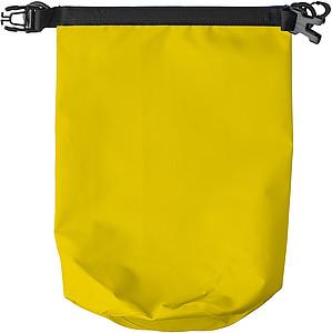 Vodotěsný pytlík s popruhem a karabinou, žlutý