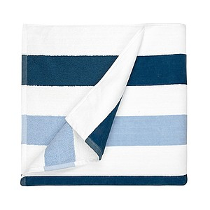 Plážová osuška Stripe 90x190 cm, 550g, námořní modrá/světle modrá