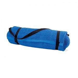 Plážový ručník s polštářkem a praktickým popruhem, modrá