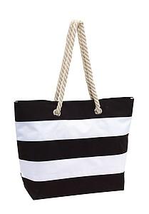 SEANA Plážová taška, pruhovaná bílo černá