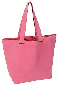 Jednobarevná bavlněná plážová taška s uchy, růžová