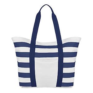 Pruhovaná plážová taška, bilé pruhy, modrá