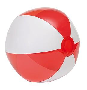 Nafukovací plážový míč, 6 panelů, bílo červený