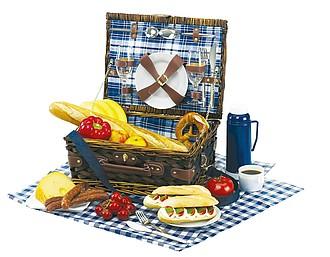piknikový koš s porcelán.nádobím, pro 2 os., bílá,modrá