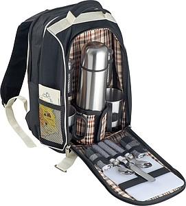 Piknikový batoh z robustního polyesteru, černá