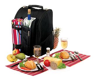 AZORY Piknik. ruksak pro 2 os. s vlněnou dekou, čern. červ.
