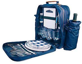Modrý piknikový batoh, příslušentství, dvě kapsy na lahev