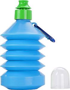 Skládací láhev na pití s karabinou, 600ml, modrá