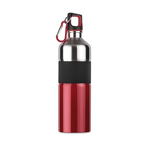 Dvoubarevná láhev na pití s karabinou, objem 750 ml, červená