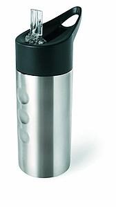 Nerezová láhev na vodu s brčkem, 500 ml, stříbrná